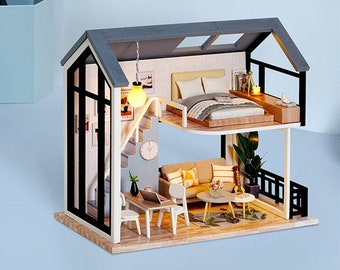 DIY Miniature Dollhouse Kit Scenery Nordic Heart Warming Life Craft in a Box Mordern Loft w/ Light Blue Craft Idea Model Making Gift Decor