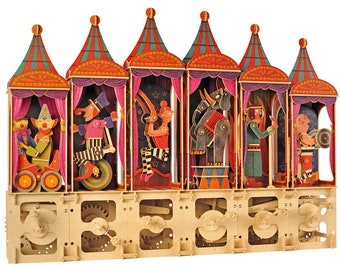 3D Wooden Puzzle Moving Model Kit DIY Moving Mechanical Wooden Automata Circus Series Elephant Acrobat Juggler Fire Eater Strong Man Clowns