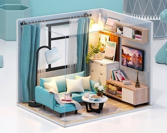 1: 24 DIY Miniature Dollhouse Kit Scene Scenery Living Room Box Teal Turquoise Blue House with Light and Music Box Adult Craft Gift Decor