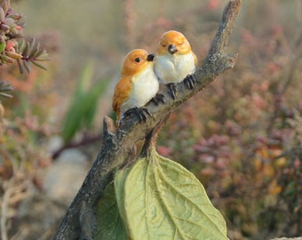 Love Birds on A Branch Fairy Garden Terrarium Accessories Miniature Woodland Accessory Decoration