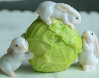 Three Bunnies Rolling A Cabbage Fairy Garden Terrarium Accessories Miniature Woodland Accessory Decoration Rabbit