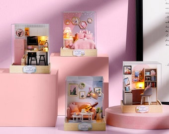 1:32 DIY Miniature Dollhouse Kit Scenery Pink Sweet Home w/ Light Craft in a Box Adult Craft Model Making Crafting Idea Gift for Girl Decor