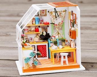 1: 24 Miniature Dollhouse DIY Kit Jason's Kitchen with Light Handcraft Project Sweet Home Room Model Gift Home Decor Scene Robotime