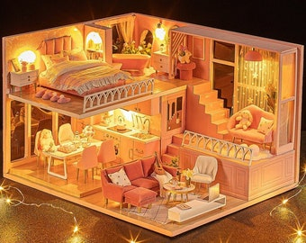 1: 24 DIY Miniature Dollhouse Kit Scenery My Little Warm Moment Loft Apartment Craft in a Box Pink House with Light Music Gift Home Decor