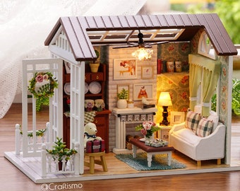 1: 24 DIY Miniature Dollhouse Kit Happy Times Shabby Chic Cottage Cabin House with Light and Music Box Model Making Craft Supply