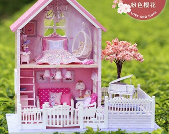 1: 24 DIY Miniature Dollhouse Kit Pink Cherry Blossoms House with Piano Pink Girls Sakura Cute Room with Light and Music Box