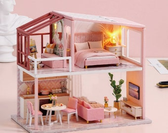 DIY Miniature Dollhouse Kit Scenery Nordic Heart Warming Life Craft in a Box Mordern Loft w/ Light Pink Adult Craft Model Making Gift Decor