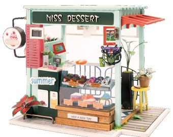 1: 24 Miniature Dollhouse DIY Kit Ice Cream Station with Light Handcraft Project Model Dessert Shop Donuts Cake Gift Home Decor Robotime
