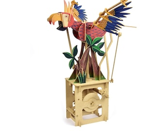 3D Wooden Puzzle Moving Model Kit DIY Moving Mechanical Wooden Automata Bird Series - Parrot