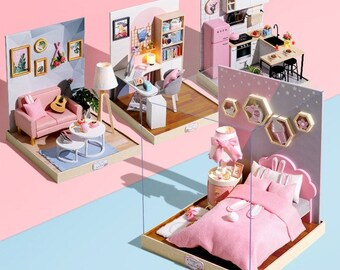 1:12 DIY Miniature Dollhouse Kit Scenery Room with Light for OB11 1/12 Scale BJD Dolls Craft in a Box Model Making Crafting Idea Gift Decor