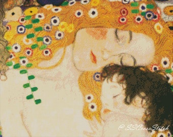 Counted Cross Stitch Pattern Fine Art Counted Cross Stitch Pattern Mother and Child