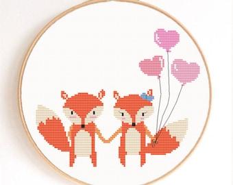 Fox Valentine Counted Cross Stitch Pattern Instant Download
