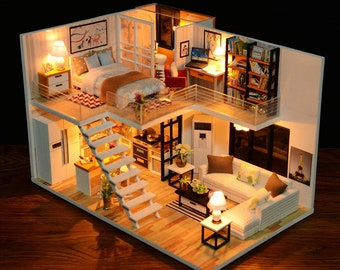 1: 24 DIY Miniature Scenery Dollhouse Kit Lovely Small Loft Apartment Stutio Home w/ Light and Music Box Model Making Craft Supply Gift