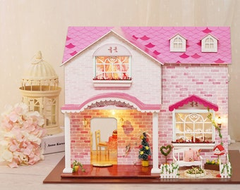 1: 24 DIY Miniature Dollhouse Kit Pink Sweetheart Mansion with Porch w/ Light and Music Box Craft in a Box Gift Home Decor Craft Project