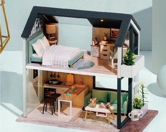 DIY Miniature Dollhouse Kit Scenery Nordic Peaceful Time Craft in a Box Mordern Loft w/ Light Pink Blue Adult Craft Model Making Gift Decor