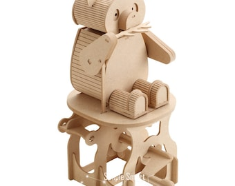 3D Wooden Puzzle Moving Model Kit DIY Moving Mechanical Wooden Automata Panda Craft in a Box Gift Home Decor Modelshop