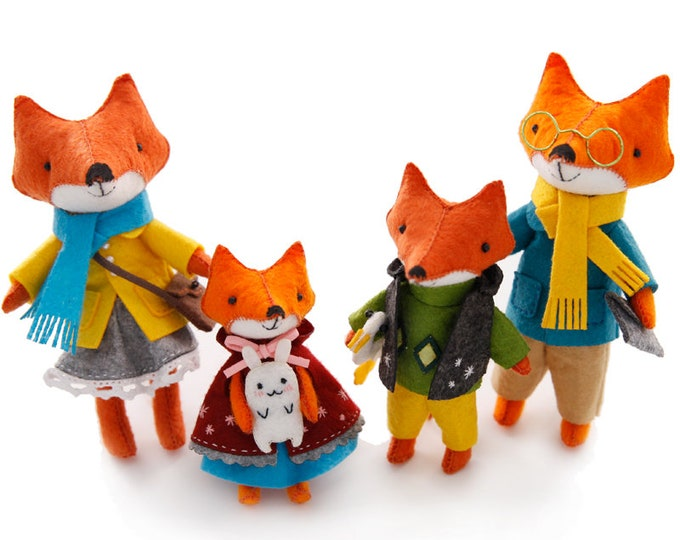 Featured listing image: DIY Felt Craft Kit Fox Family Craft in a Box Sewing Handmade Stuff Doll Decoration Ornament Gift for Kids Pattern Toy Stitching