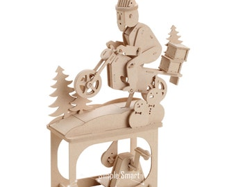 3D Wooden Puzzle Moving Model Kit DIY Moving Mechanical Wooden Automata Santa Claus Silent Night Craft in a Box Gift Home Decor Modelshop