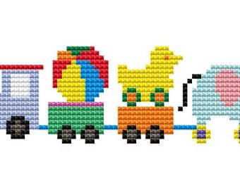 Counted Cross Stitch Pattern PDF Toys Train