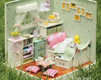 Miniature Dollhouse Room DIY Kit Home Sweet Home Series The Bedroom with Light and Music Box Cute Room House Model