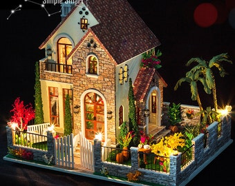Miniature Dollhouse  DIY Kit Love Apartment with LED Light and Music Box Cute Room House Model