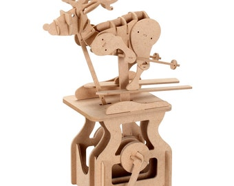 3D Wooden Puzzle Moving Model Kit DIY Moving Mechanical Wooden Automata Sliding Deer Craft in a Box Chistmas Gift Home Decor Modelshop