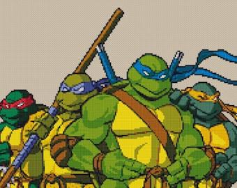 Teenage Mutant Ninja Turtles  Counted Cross Stitch Pattern Instant Download