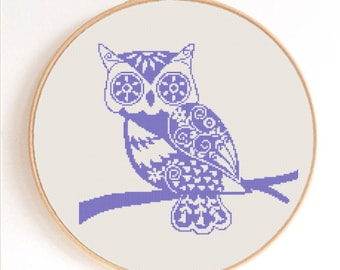 Ornament Owl Silhouette Counted Cross Stitch Pattern