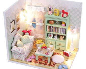 1:24 Miniature Dollhouse Room DIY Kit Lazy Time Living Room with Light HDM01 House Model