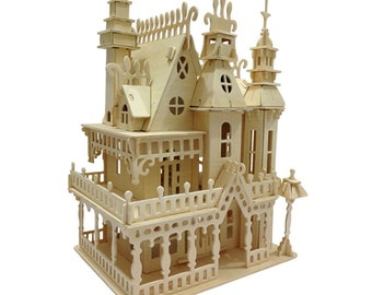 Miniature Dollhouse 3D Wooden Puzzle House Model DIY Toy House w/ Furnitures  Fantasy Villa