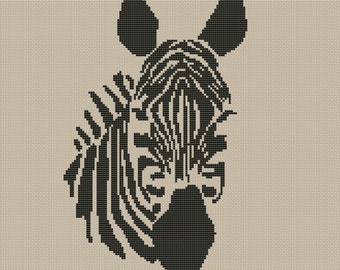 Zebra Head Silhouette Counted Cross Stitch Pattern