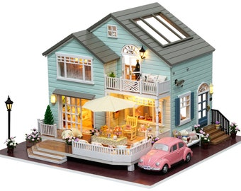 1: 24 DIY Miniature Dollhouse Kit Queenstown Suburban House Car Afternoon Tea Time Patio Pink Car Cute Room with Light and Music Box