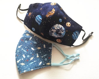 Handmade Washable Reusable Cotton Face Mask Covering Kid Teen Boy Adult Cute Cartoon Rocket Outer Space Planet Star Blue | Ship From Toronto
