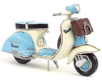 1/8 Retro Style Miniature Blue  White 1955 Vespa Motorcycle with Briefcase Hand Made Toy for Blythe  BJD Doll Prop Decor Gift for Girl Rome