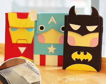 A5 Faux Leather Superheroes Organizer Planner Notebook Binder NEW