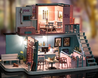 1: 24 DIY Miniature Dollhouse Kit Pink Cafe Restaurant Leisure Time Pink Blue with Light and Music Box