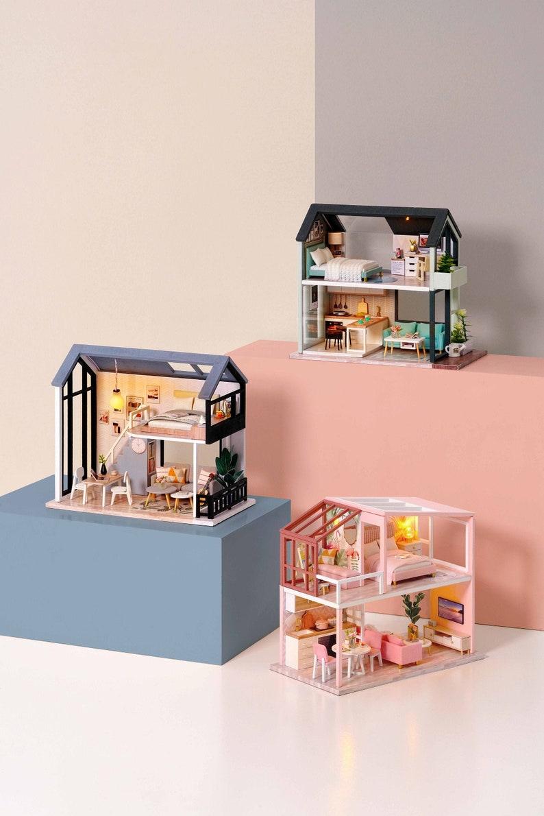 DIY Miniature Dollhouse Kit Scenery The Nordic Apartment Craft image 0