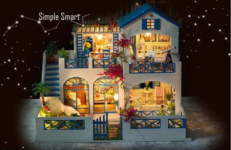 Miniature Dollhouse DIY Kit Shooting Star Garden with LED Light and Music  Box Cute Room House Model 1/24 Beach House Blue White