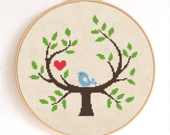 A Cute Bird on the Tree Counted Cross Stitch Pattern Instant Download