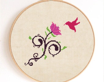 Hummingbird and flower Counted Cross Stitch Pattern Instant Download