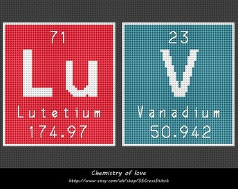 Counted Cross Stitch Pattern Chemistry of Love periodic table of elements i luv u
