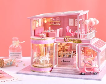 1: 24 DIY Miniature Dollhouse Kit Childhood Memories Pink Patisserie Cake Shop Carousel w/ Light and Music Box Gift for Girl Craft in a Box