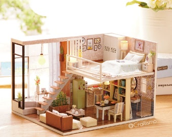 1: 24 DIY Miniature Dollhouse Kit Waiting for the Time Loft Studio Room Cute House with Light and Music Box Craft in a Box Gift Home Decor
