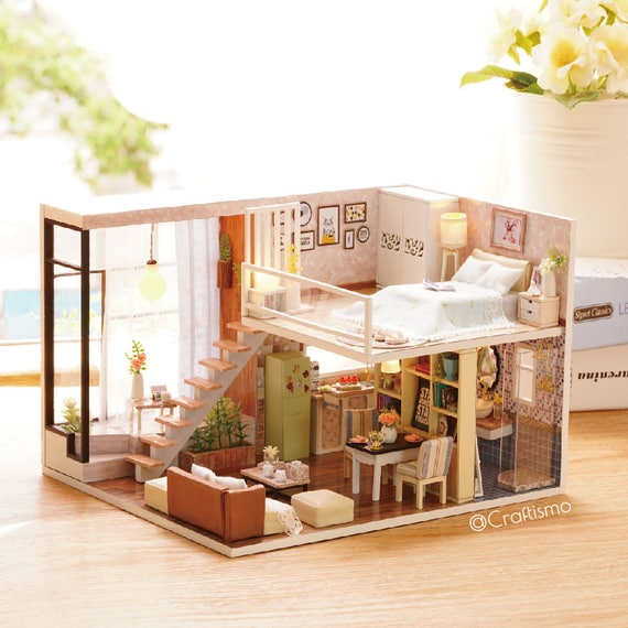 1 24 Diy Miniature Dollhouse Kit Waiting For The Time Loft Etsy