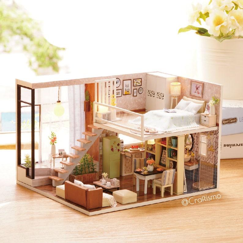 1: 24 DIY Miniature Dollhouse Kit Waiting for the Time Loft image 0