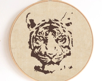 Tiger Head Silhouette Counted Cross Stitch Pattern Instant Download PDF