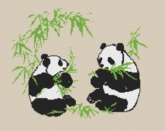 Animals Counted Cross Stitch Pattern Two Pandas Eating Bamboo Instant Download PDF