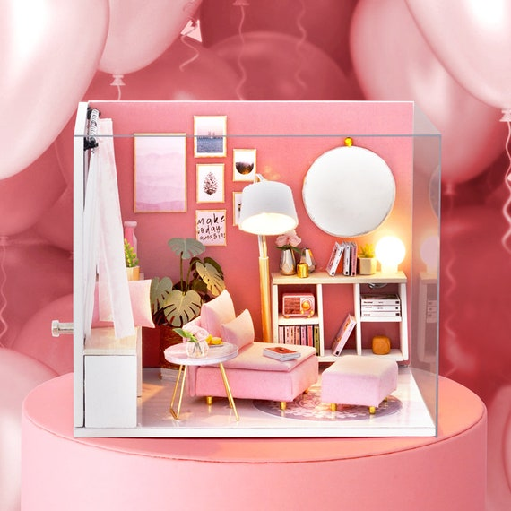 NEW Dollhouse Miniature DIY Kit Happy Time Room With Cover