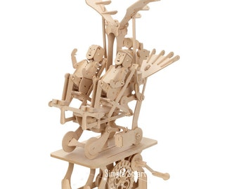 3D Wooden Puzzle Moving Model Kit DIY Moving Mechanical Wooden Automata Flying Family Craft in a Box Gift Home Decor Modelshop