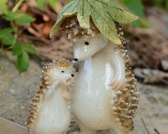 Father and Son Hedgehog Fairy Garden Terrarium Accessories Miniature Woodland Accessory Decoration Large Status